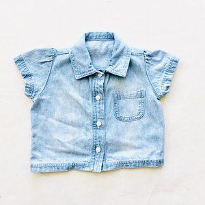 Light Wash Princess Cap Sleeve Button Down Shirt